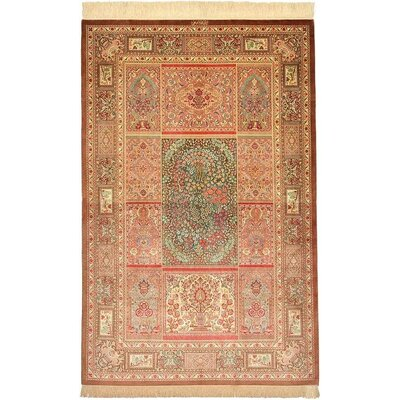 One-of-a-Kind Wollano Persian Hand Woven Silk Brown Area Rug