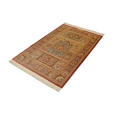 One-of-a-Kind Wollano Traditional Persian Hand Woven Silk Rectangle Burgundy Area Rug