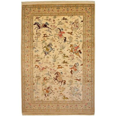 One-of-a-Kind Wollano Fade Resistant Persian Hand Woven Silk Rectangle Cream Border Area Rug