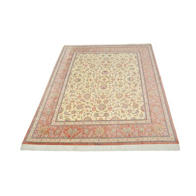 One-of-a-Kind Bellingdon Persian Hand Knotted Silk Cream Area Rug
