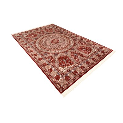 One-of-a-Kind Wollano Traditional Persian Hand Woven 100% Silk Burgundy Area Rug