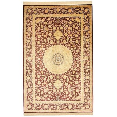 One-of-a-Kind Wollano Persian Hand Woven Silk Burgundy Area Rug with Fringe