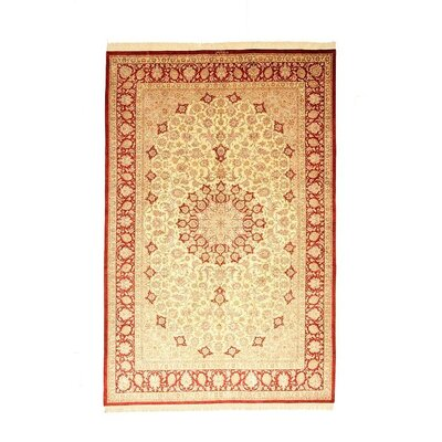 One-of-a-Kind Wollano Traditional Persian Hand Woven 100% Silk Cream Oriental Area Rug