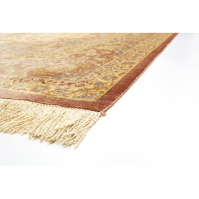 One-of-a-Kind Bellingdon Persian Hand Woven Silk Cream Floral Area Rug with Fringe