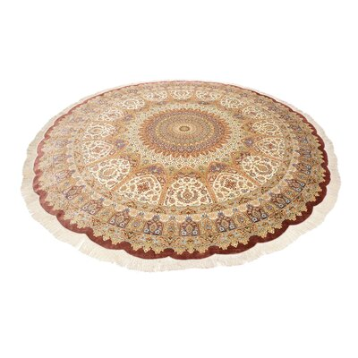 One-of-a-Kind Wollano Persian Round Hand Woven Silk Cream Area Rug