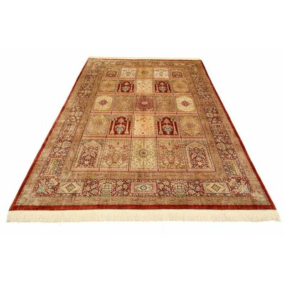 One-of-a-Kind Wollano Fade Resistant Persian Hand Woven Silk Cream Oriental Area Rug with Fringe
