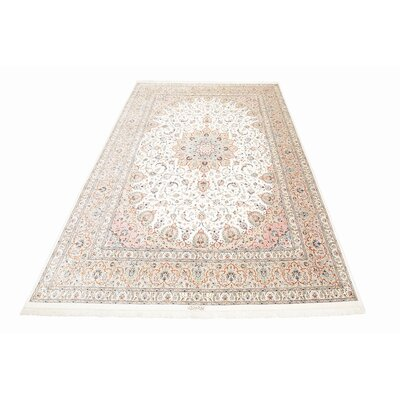 One-of-a-Kind Wollano Persian Hand Woven Silk Cream Oriental Border Area Rug with Fringe
