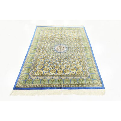 One-of-a-Kind Wollano Persian Hand Woven Silk Gold Area Rug