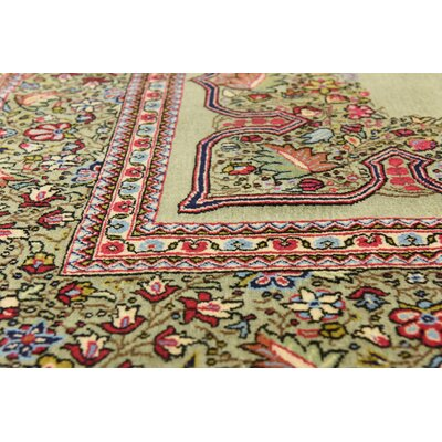 One-of-a-Kind Wollano Persian Hand Woven Wool Olive Area Rug
