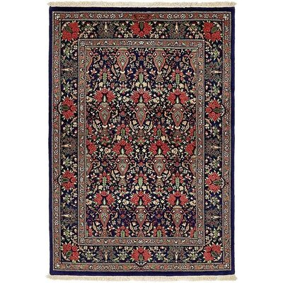One-of-a-Kind Wollano Persian Hand Woven Wool/Silk Rectangle Navy Blue Area Rug