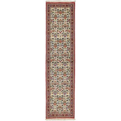 One-of-a-Kind Breno Traditional Persian Runner Hand Woven Wool Cream Area Rug