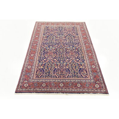 One-of-a-Kind Wollano Persian Hand Woven Wool Rectangle Navy Blue Area Rug