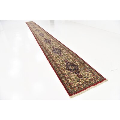 One-of-a-Kind Wollano Persian Runner Hand Woven Wool Cream Area Rug