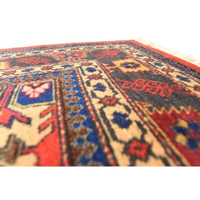 One-of-a-Kind Wollano Traditional Persian Hand Woven Kork Wool Red Area Rug