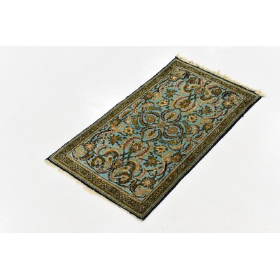 One-of-a-Kind Wollano Persian Hand Woven Silk Blue Area Rug