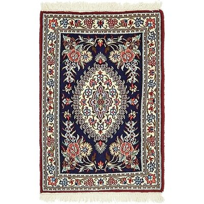 One-of-a-Kind Wollano Stain-resistant Persian Hand Woven Wool Rectangle Navy Blue Area Rug