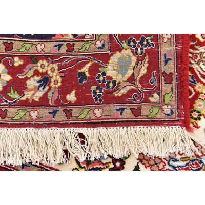 One-of-a-Kind Wollano Fade Resistant Persian Hand Woven Wool Cream Area Rug with Fringe