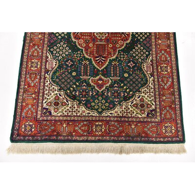One-of-a-Kind Wollano Traditional Persian Hand Woven Silk Rectangle Green Area Rug