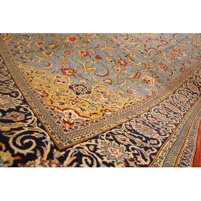 One-of-a-Kind Wollano Persian Hand Woven Wool/Silk Blue Area Rug