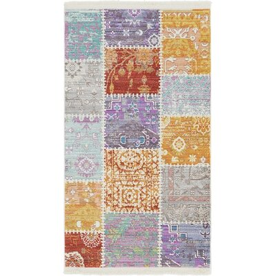 Rune Orange/Gray Area Rug Rug Size: Runner 33 x 10