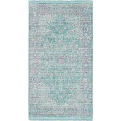Rune Aqua Area Rug Rug Size: Rectangle 27 x 5