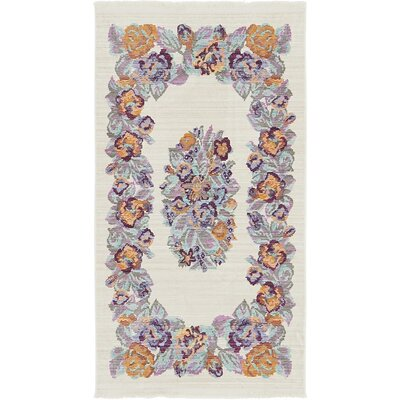 Rune Cream Area Rug Rug Size: Rectangle 53 x 77