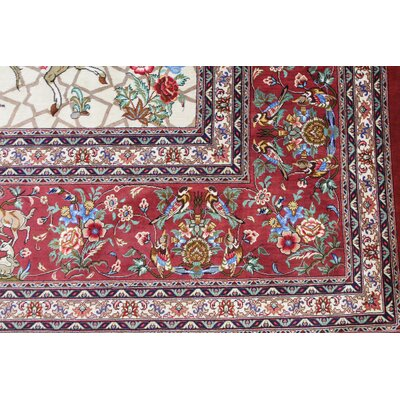One-of-a-Kind Wollano Persian Hand Knotted Silk Red Area Rug