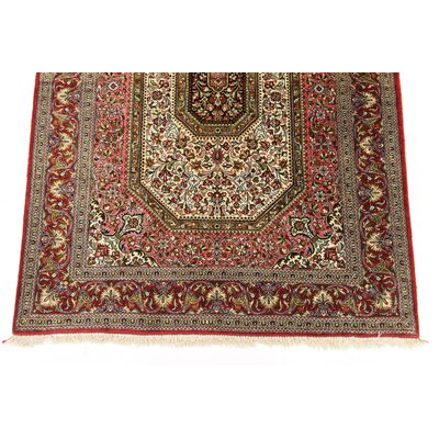 One-of-a-Kind Wollano Traditional Persian Hand Woven Silk Beige Oriental Area Rug