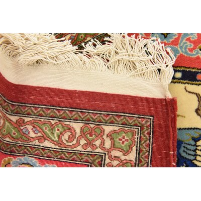 One-of-a-Kind Wollano Persian Hand Woven Wool Rectangle Ivory Area Rug