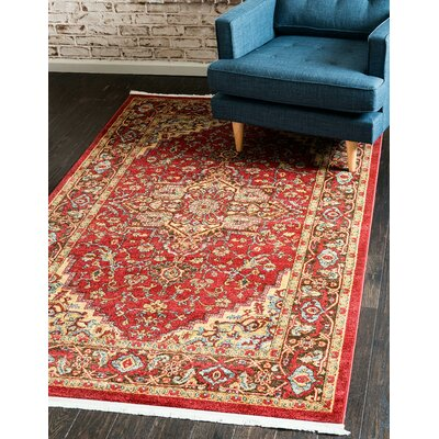 Zoey Red Area Rug Rug Size: Rectangle 7 x 10