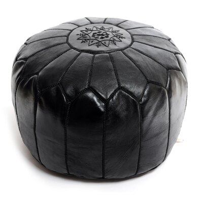 Moroccan Leather Ottoman Upholstery: Black