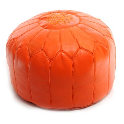 Moroccan Leather Ottoman Upholstery: Orange