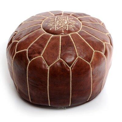 Moroccan Leather Ottoman Upholstery: Dark Tan