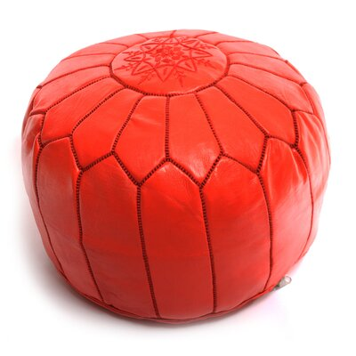 Moroccan Leather Ottoman Upholstery: Red
