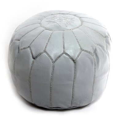 Moroccan Leather Ottoman Upholstery: Gray