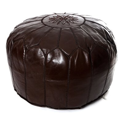 Moroccan Leather Ottoman Upholstery: Chocolate Brown