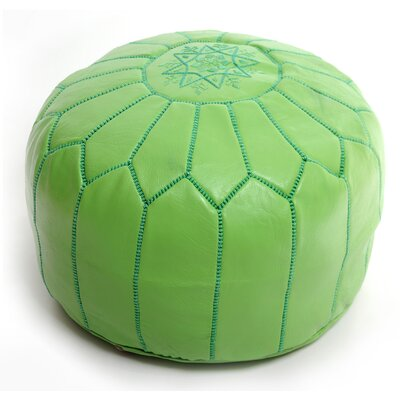 Moroccan Leather Ottoman Upholstery: Lime Green