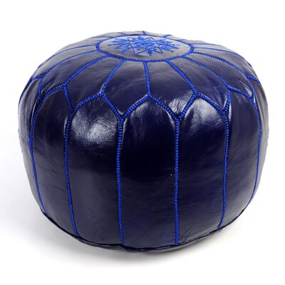 Moroccan Leather Ottoman Upholstery: Royal Blue