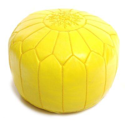 Moroccan Leather Ottoman Upholstery: Yellow
