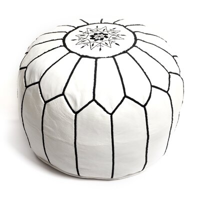 Moroccan Pouf Leather Ottoman Upholstery: White/Black