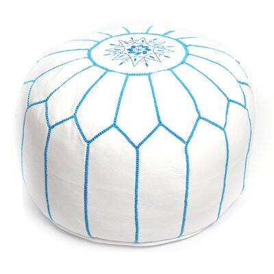 Moroccan Pouf Leather Ottoman Upholstery: White/Turquoise