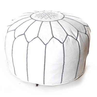 Moroccan Pouf Leather Ottoman Upholstery: White/Gray