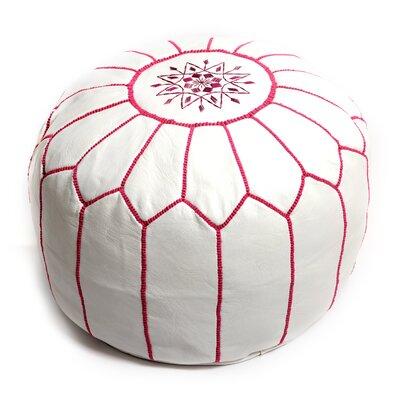 Moroccan Pouf Leather Ottoman Upholstery: White/Fuchsia