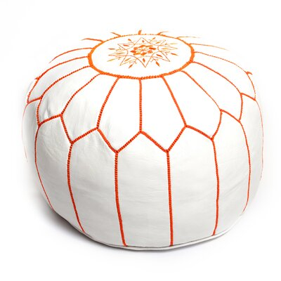 Moroccan Pouf Leather Ottoman Upholstery: White/Orange