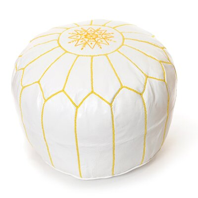 Moroccan Pouf Leather Ottoman Upholstery: White/Yellow
