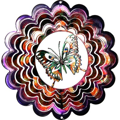 Eycatcher Kaleidoscope Butterfly Wind Spinner Color: Purple, Size: Medium