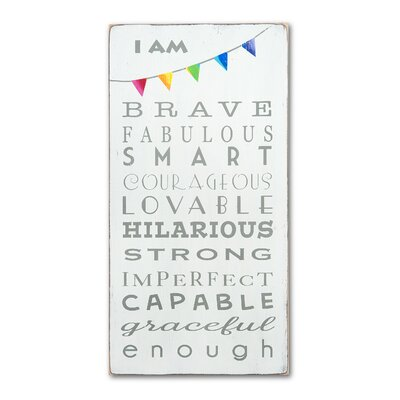 I Am Brave Textual Art Plaque