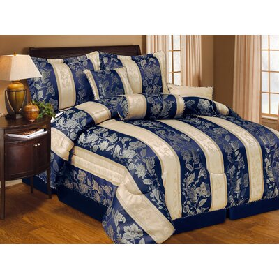 Hotel 7 Piece Comforter Set Size: King, Color: Navy Blue