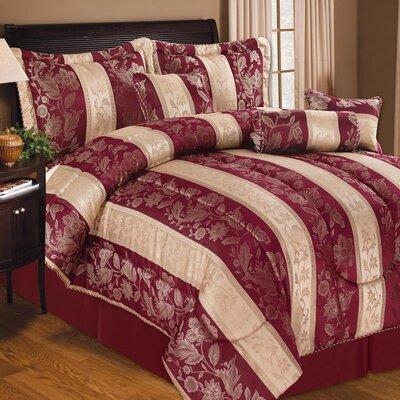 Soho Hotel 7 Piece Comforter Set Color: Burgundy, Size: Queen