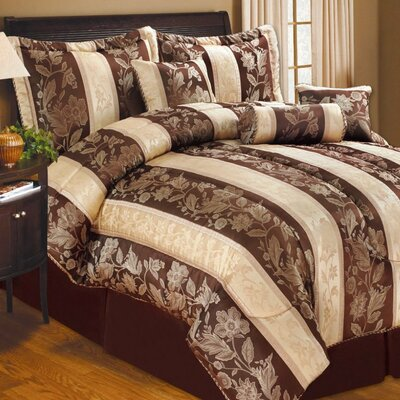 Soho Hotel 7 Piece Comforter Set Color: Chocolate, Size: Queen